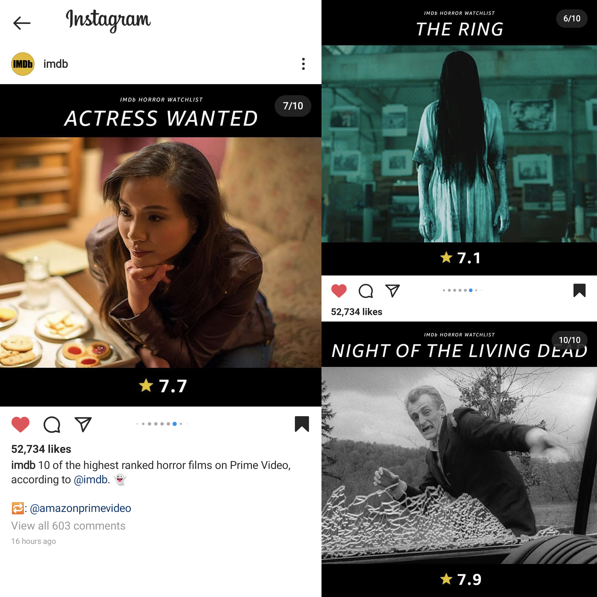 Actress Wanted made the 10 of the highest ranked horror films on Prime Video (according to @imdb) list